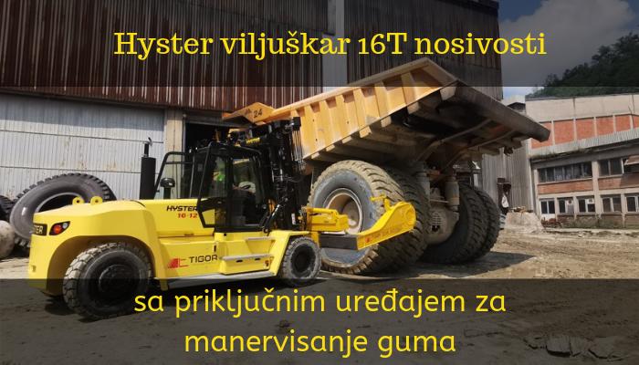 Hyster viljuškar 16 t nosivosti sa priključnim uređajem za manervisanje guma